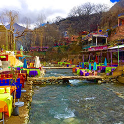 Ourika valley cafes next to the stream