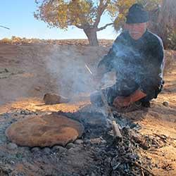 Berber pizza medfouna in Morocco desert
