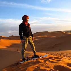 Sandboarding in Erg Chebbi dunes